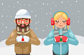Friends geek hipster couple winter hot drink tea coffee young man cup flat design vector illustration