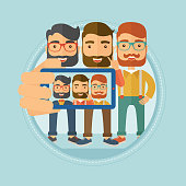 Friends making selfie vector illustration