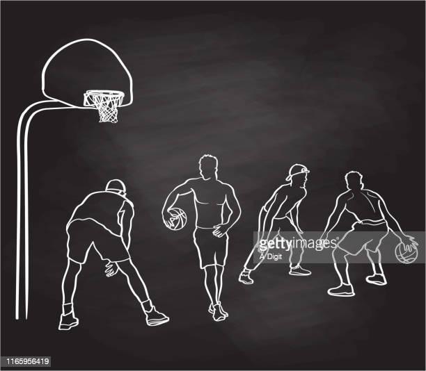 ilustraciones, imágenes clip art, dibujos animados e iconos de stock de amigos jugando a la pizarra de baloncesto - canasta de baloncesto