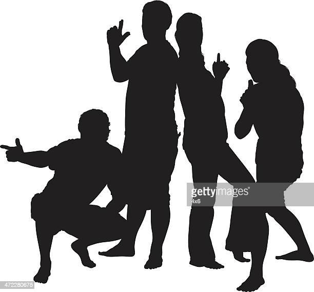 friends posing with finger guns - back to back stock illustrations, clip art, cartoons, & icons