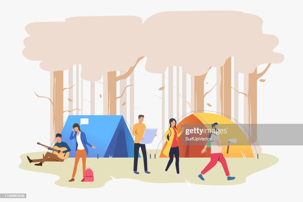 Friends resting at campsite in wood vector illustration