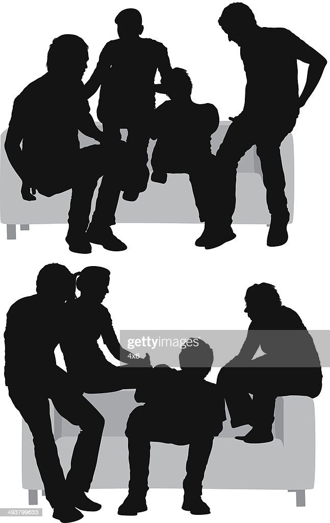 Friends Sitting On Sofa Stock Vector Getty Images