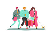 Friends (girls) stroll after shopping. Naive style vector.