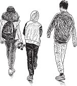 Friends teenagers go for a walk