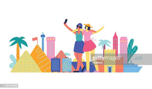 friends traveling - tourism stock illustrations