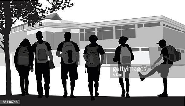 friends walking to school - school students stock illustrations, clip art, cartoons, & icons