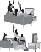 Friends watching football match on TV