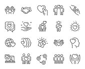 Friendship and love line icons. Interaction, Mutual understanding and assistance business. Vector