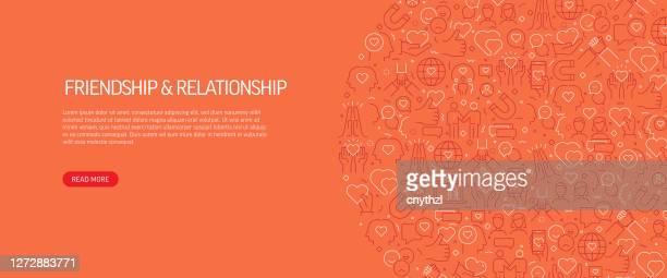 illustrations, cliparts, dessins animés et icônes de conception de bannière liée à l'amitié et à la relation avec le modèle. illustration vectorielle d'icônes de style de ligne moderne - génération du millénaire