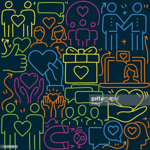 illustrations, cliparts, dessins animés et icônes de illustration liée à l'amitié et à la relation de doodle. symbole et icônes d'amitié et de relation dessinés à la main. - génération du millénaire