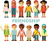 Friendship concept with different multicultural happy children in flat style