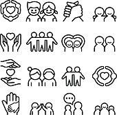 Friendship & Friend icon set in thin line style