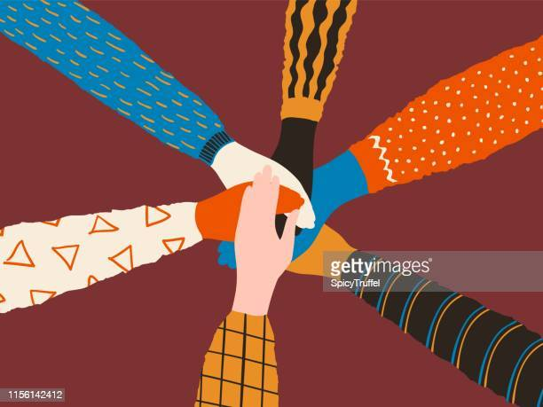 Friendship hands. Stack of different people hands, friends or team trendy concept. Vector cooperation and teamwork poster
