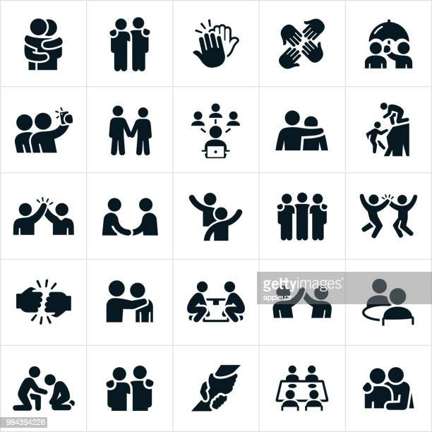 friendship icons - partnership teamwork stock illustrations