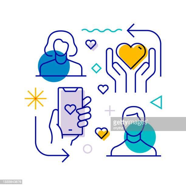 illustrations, cliparts, dessins animés et icônes de élément de conception lié à l'amitié, à la relation et à l'amour. conception de motifs avec icônes de contour. illustration vectorielle colorée - génération du millénaire
