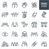 Friendship Thin Line Icons - Editable Stroke