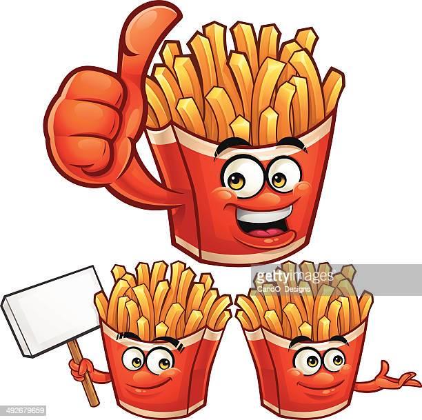 fries cartoon set c - french fries stock illustrations, clip art, cartoons, & icons