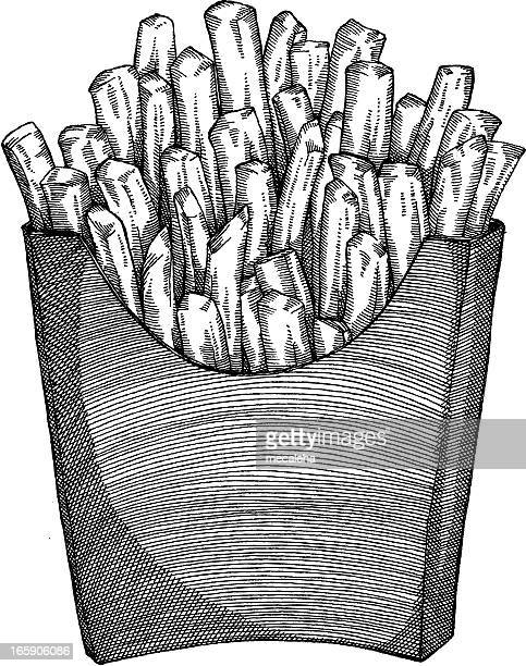 fries drawing - french fries stock illustrations, clip art, cartoons, & icons