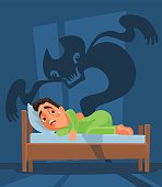 Frightened man character woke up and nightmare ghost