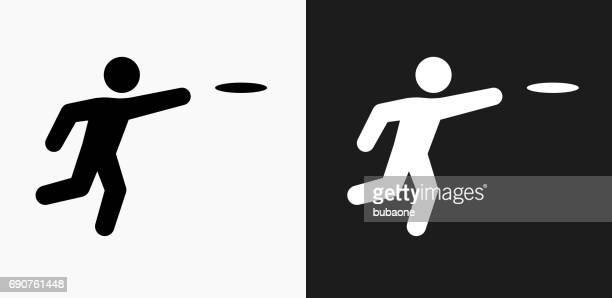 frisbee icon on black and white vector backgrounds - queen bee stock illustrations