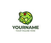 Frog and amphibian logo design. Red-eyed tree frog and toad vector design. Tropical animal illustration