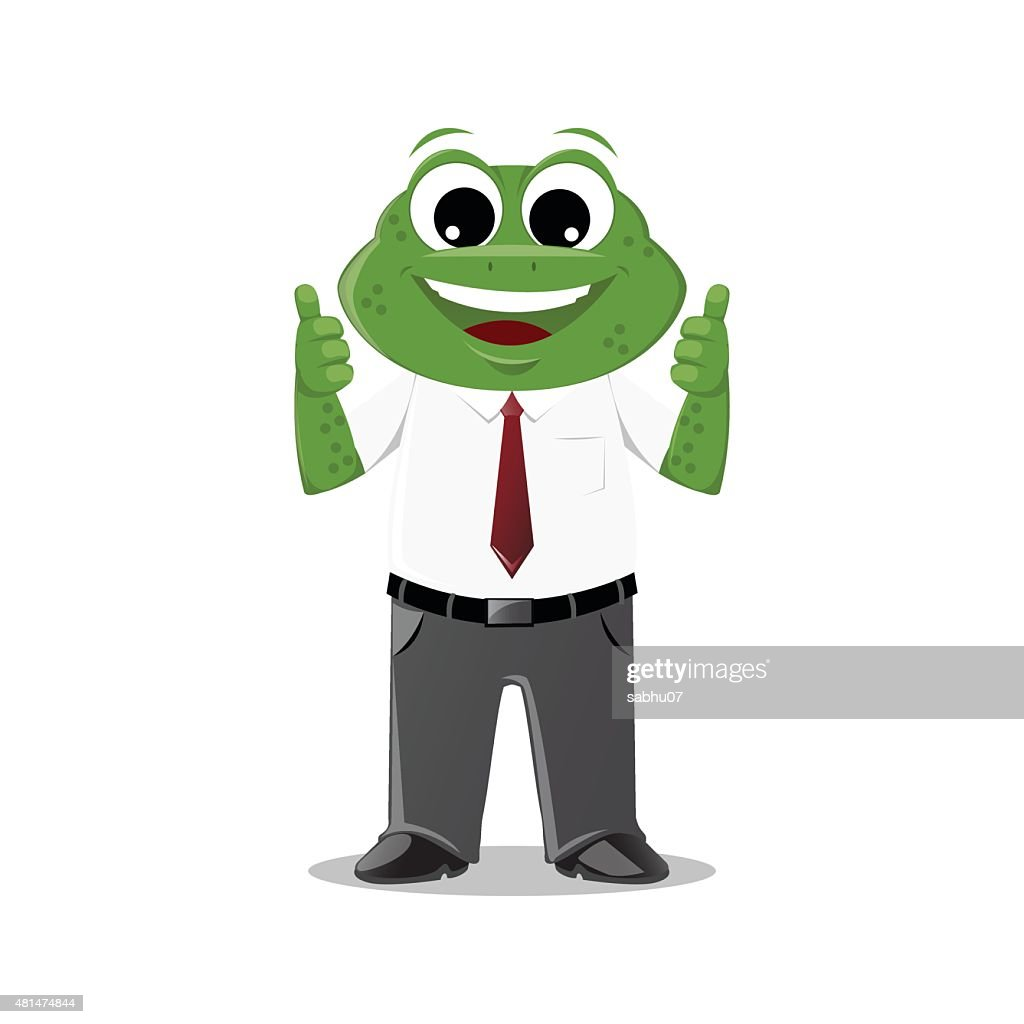 Frog Businessman Two Thumbs Up