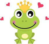 Frog cartoon prince isolated on white