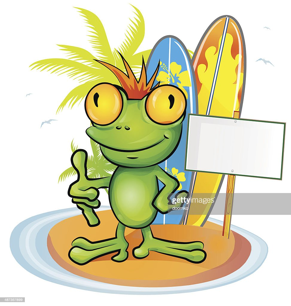frog cartoon surfer