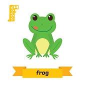 Frog. F letter. Cute children animal alphabet in vector