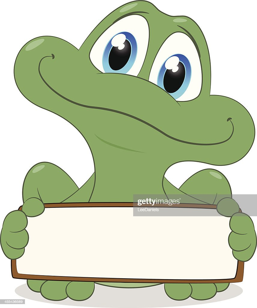 Frog holding a blank sign