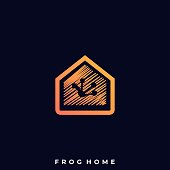Frog Home Illustration Vector Template