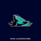 Frog Illustration Vector Design Template