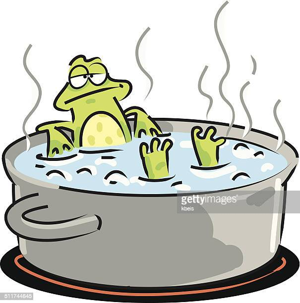 frog in boiling water - boiling stock illustrations