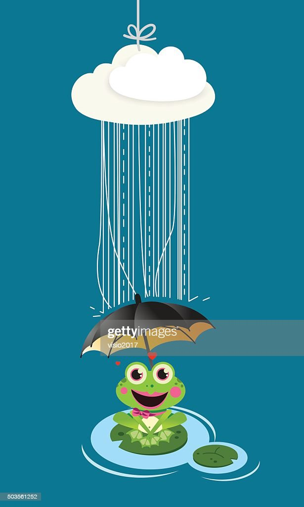 Frog in rain with umbrella