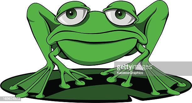 カエル、スイレンの葉 - 小型のカエル点のイラスト素材/クリップアート素材/マンガ素材/アイコン素材