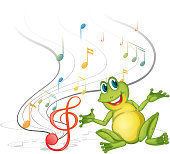 Frog with musical notes