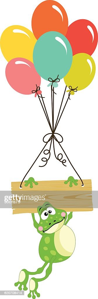 Frog with wooden sign and balloons