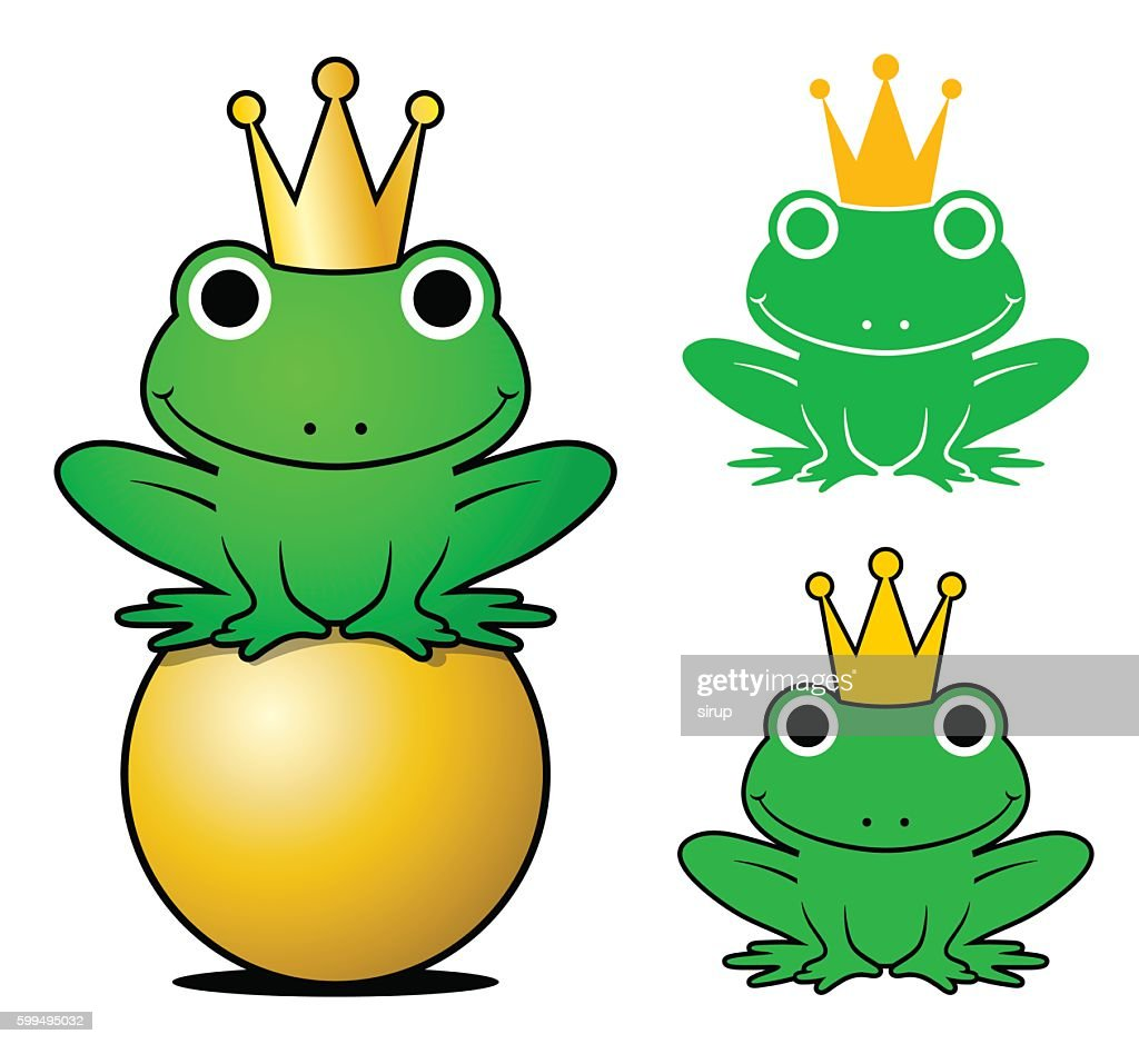 Frogs wearing crowns while one sitting on gold ball