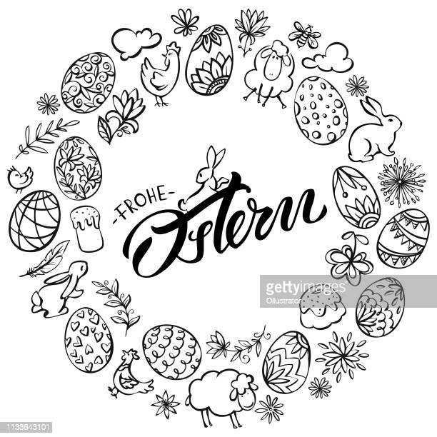 frohe ostern (happy easter in deutscher sprache) kranzillustration - osterhase stock-grafiken, -clipart, -cartoons und -symbole