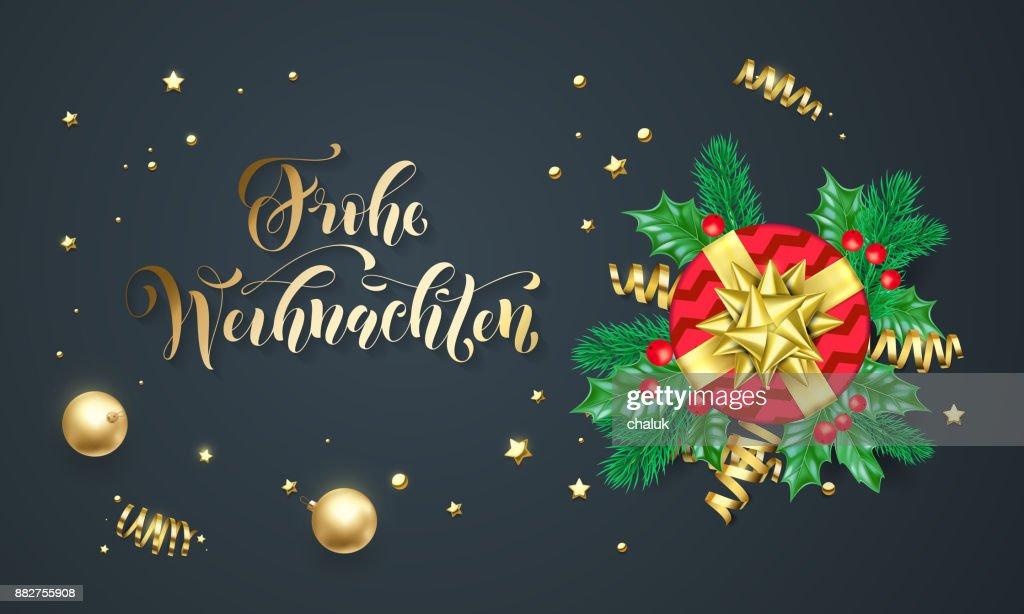 Frohe Wohnaccesoires Deutsch Frohe Weihnachten Golden Kalligraphie ...