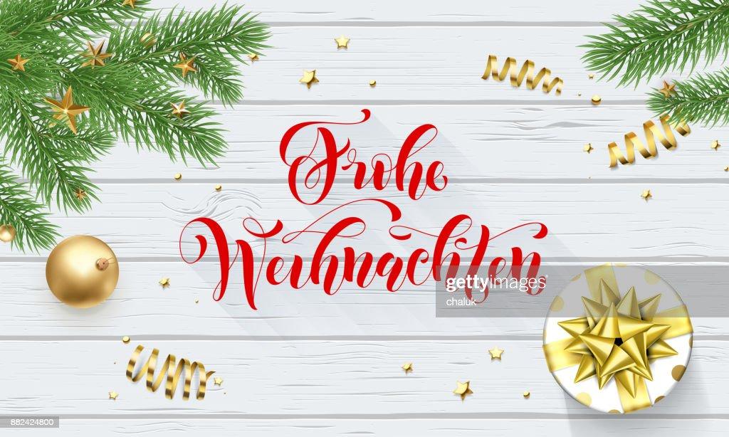 Frohe Wohnaccesoires Deutsch Frohe Weihnachten Goldene Dekoration ...