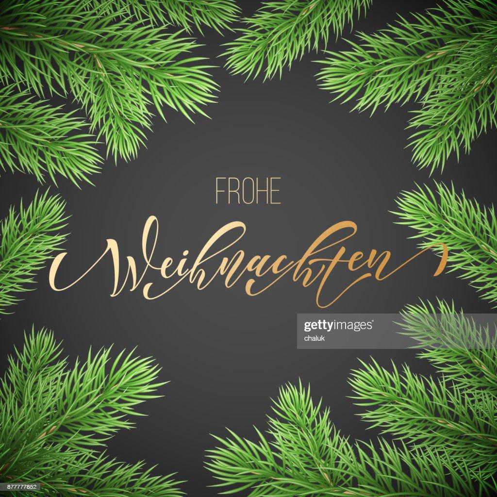 Frohe Weihnachten Rahmen.Frohe Wohnaccesoires Deutsch Frohe Weihnachten Urlaub Golden