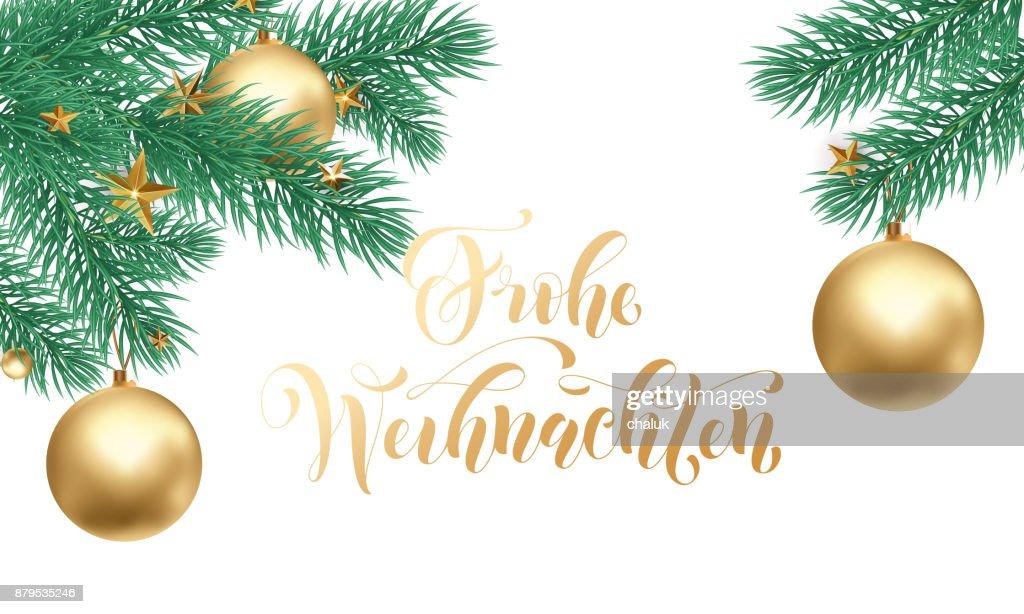 Frohe Wohnaccesoires Deutsch Frohe Weihnachten Urlaub Golden