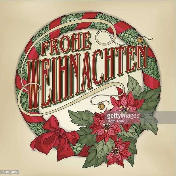 Frohe Weihnachten Kranz mit red poinsettias (Weihnachtskarte Kalligraphie)
