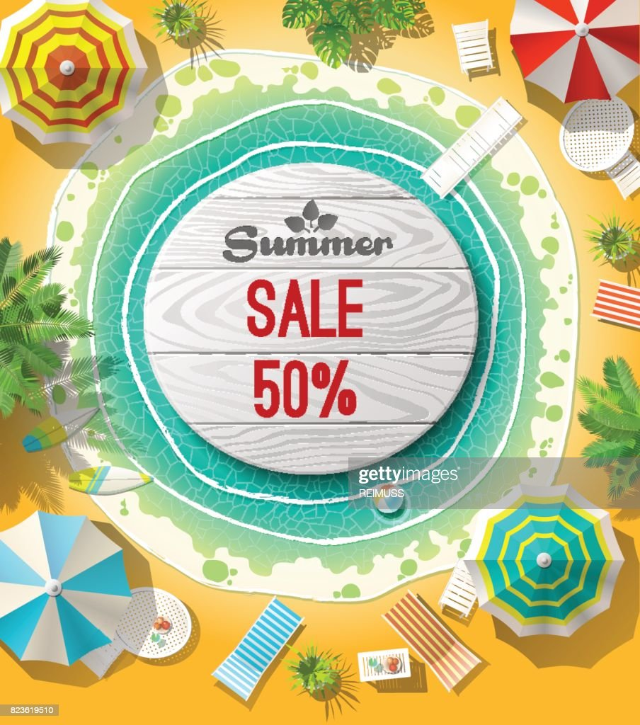From above summer sale words on wooden circle on beach. Vector illustration.