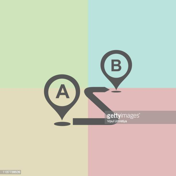 from point a to point b outline icon - letter b stock illustrations