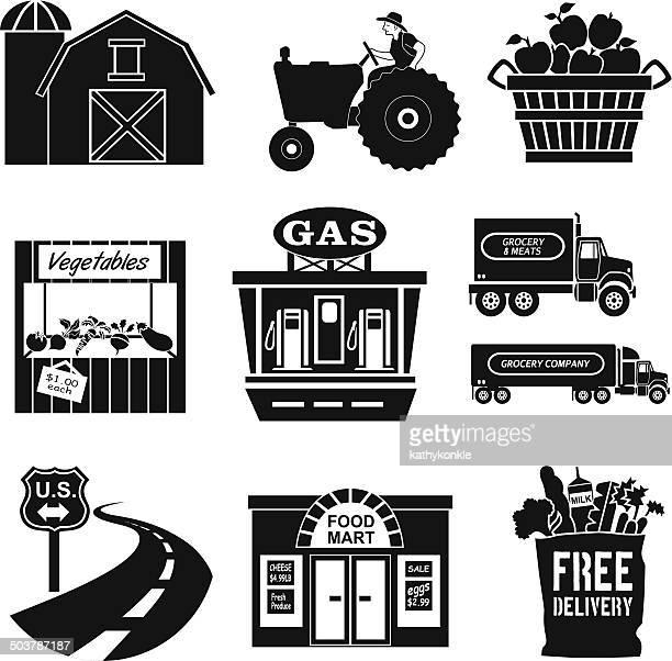 ilustraciones, imágenes clip art, dibujos animados e iconos de stock de de la granja a la mesa en blanco y negro - puesto de mercado