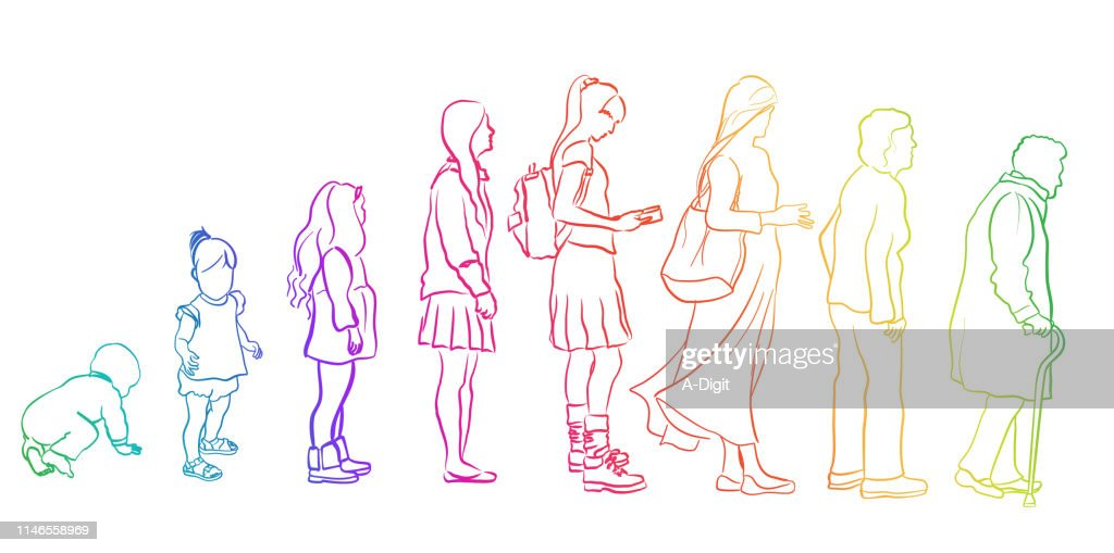 From Younger To Older Woman Rainbow : stock illustration