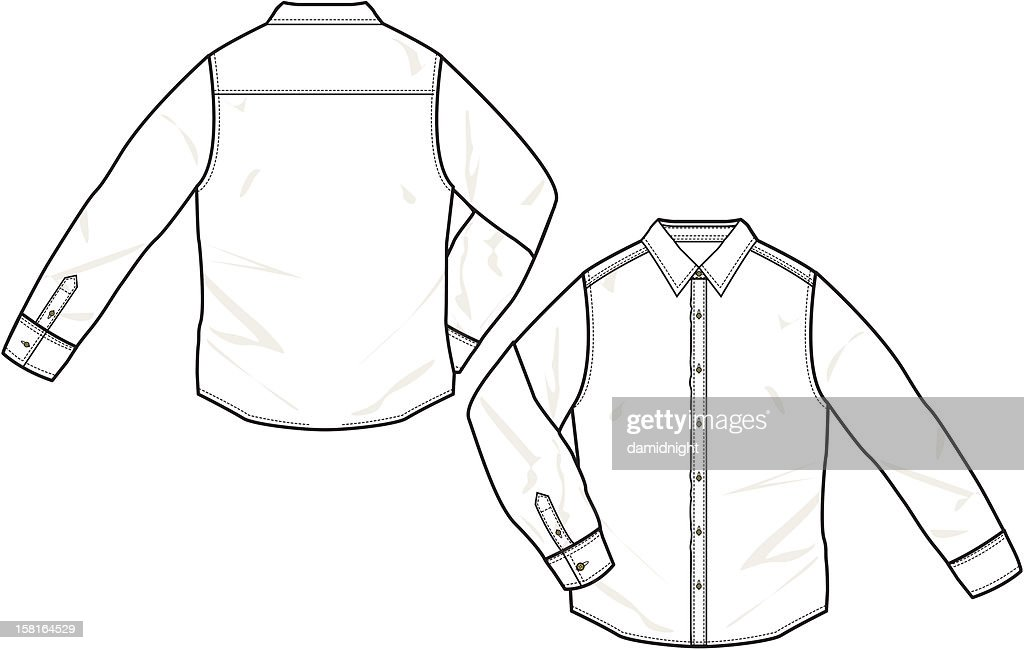 Front and back drawing of a long sleeve shirt