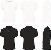Front, back and side views of white shirt and black shirt